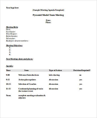 9+ Meeting Agenda Samples in Word Sample Templates