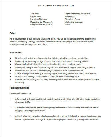 9+ Marketing Executive Job Description Samples Sample Templates