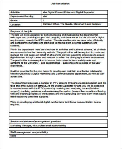 9+ Content Editor Job Description Samples Sample Templates