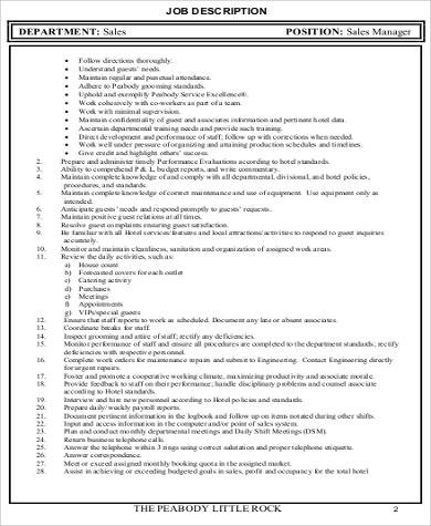 7+ Sales Marketing Executive Job Description Samples Sample Templates - sales and marketing job description