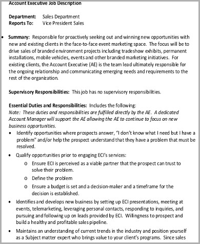 Sales Intern Job Description Sales And Business Intern Job - account management job description