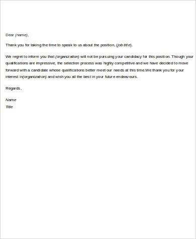 job rejection letter
