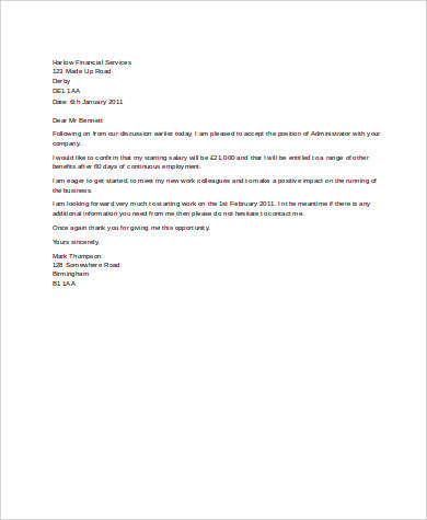 Offer Acceptance Letter Sample - 9+ Examples in Word, PDF