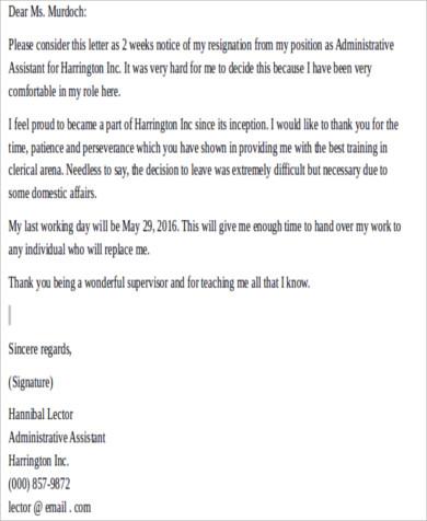 6+ Two Week Resignation Letters Sample Sample Templates - 2 week resignation letter
