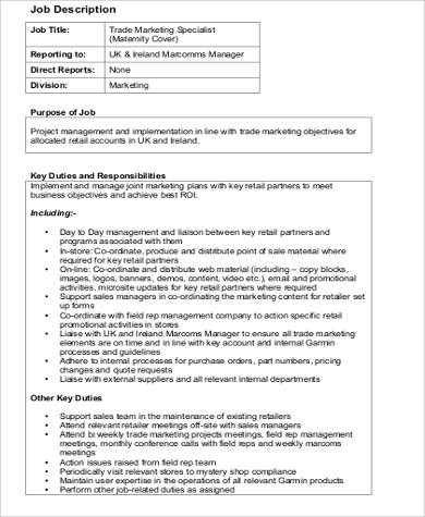 9+ Marketing Specialist Job Description Samples Sample Templates