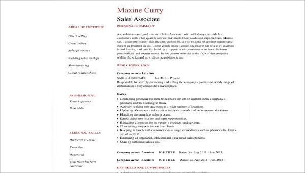 Sample Sales Experience Resume - 9+ Examples in Word, PDF