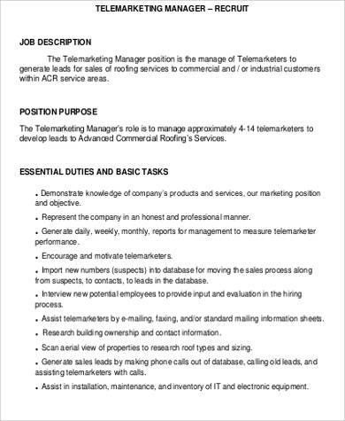 sales and marketing manager job description pdf - Josemulinohouse