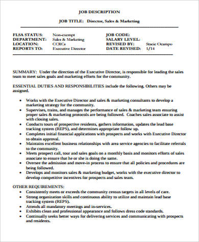 Sales And Marketing Job Description Sample