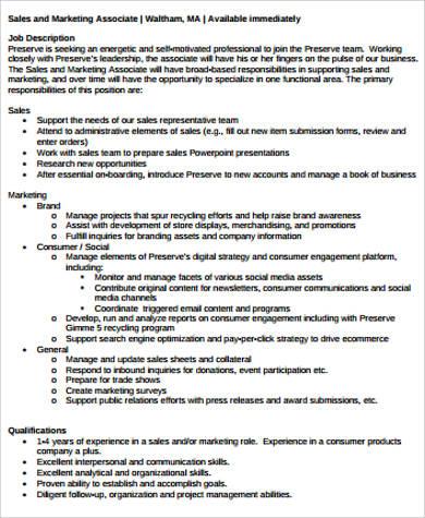 9+ Sales and Marketing Job Description Samples Sample Templates - trade marketing job description