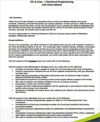 7+ Chemical Engineer Job Description Samples Sample Templates - chemical engineer job description