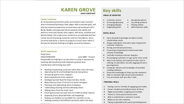 Sample Sales Resume Skills - 9+ Examples in Word, PDF