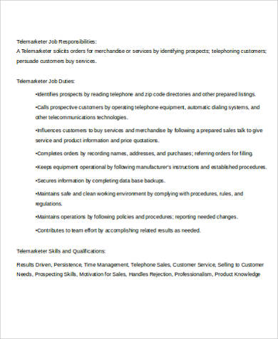 Charming Telemarketing Job Description Sample   8+ Examples In Word, PDF   Telemarketing  Job Description Great Ideas