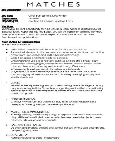 Exceptional Copy Editor Job Description Sample 8+ Examples In Word, PDF Copy Editor  Gallery