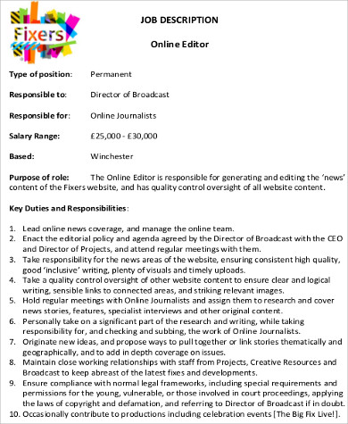 Editor Job Description  Resume Template Sample