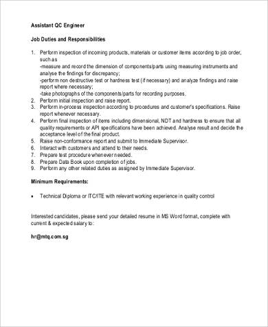 Quality Engineer Job Description - 9+ Examples in Word, PDF - quality control job description