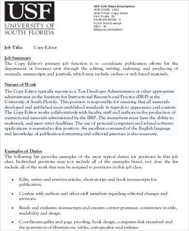 Copy Editor Job Description - sarahepps -