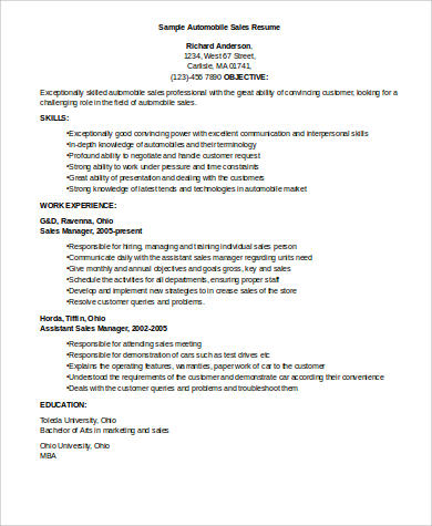 Automobile Sales Executive Resume - nmdnconference.com - Example ...