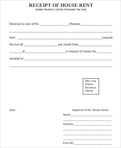 House Rent Receipt Sample - 7+ Examples in Word, PDF