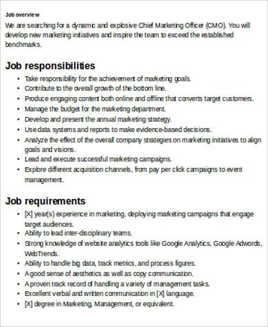 Perfect Marketing Officer Job Description