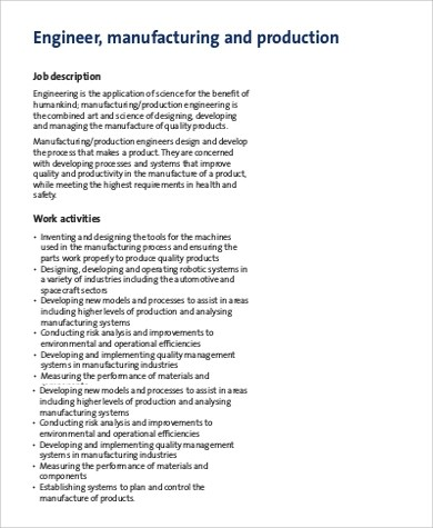 Manufacturing Engineer Job Description Sample - 9+ Examples in - manufacturing engineer job description