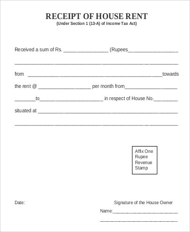 Rent Receipt Format Sample - 7+ Examples in PDF