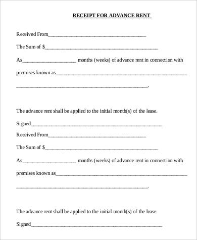 7+ Rent Receipt Format Samples Sample Templates