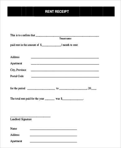 Rent Receipt Format Sample - 7+ Examples in PDF - house rent receipt format
