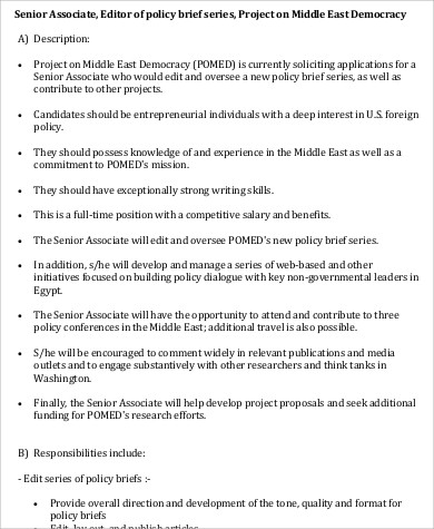 Associate Editor Job Description ophion