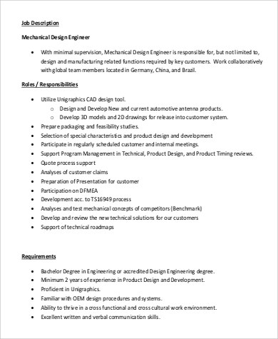 Design Engineer Job Description Sample - 9+ Examples in PDF - manufacturing engineer job description