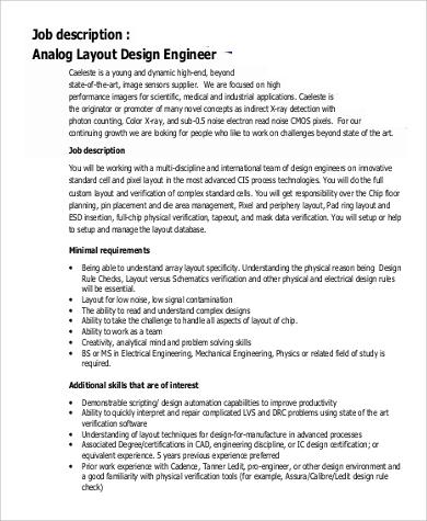 9+ Design Engineer Job Description Samples Sample Templates