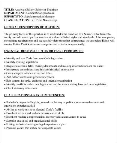 Associate Editor Job Description Lukex Co