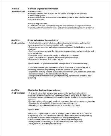9+ Summer Intern Job Description Samples Sample Templates - software engineer job description