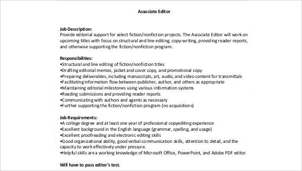 Associate Editor Job Description Sample - 8+ Examples in Word, PDF