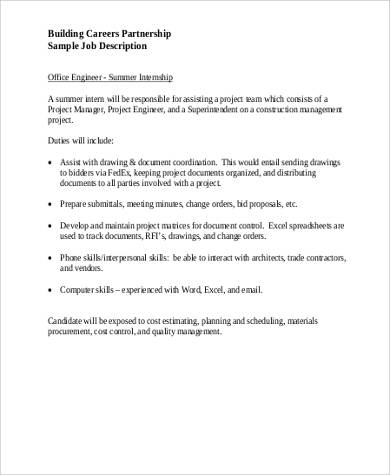 Summer Intern Job Description Sample - 9+ Examples In Word, PDF
