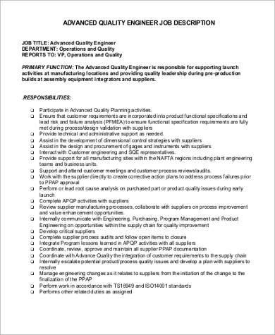Quality Engineer Job Description - 9+ Examples in Word, PDF - quality engineer job description