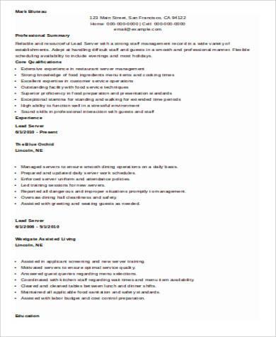 6+ Sample Restaurant Server Resumes Sample Templates - lead server sample resume