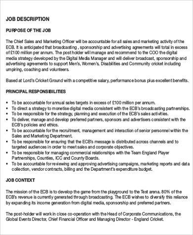 7+ Chief Marketing Officer Job Description Samples Sample Templates - sales and marketing job description