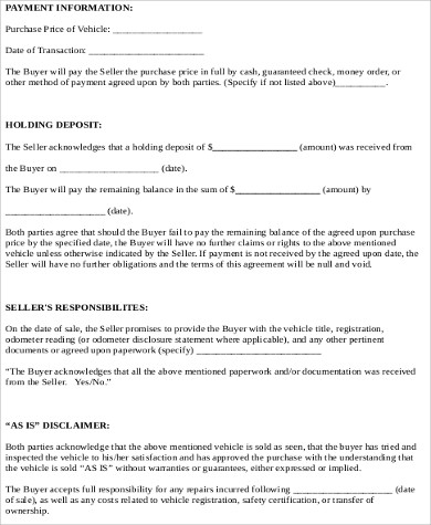 10+ Car Sale Contract Samples Sample Templates - Automobile Sales Contract