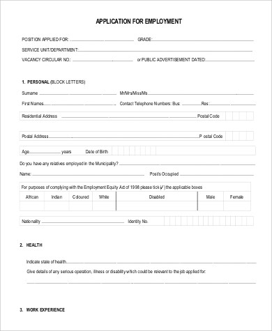 9+ Generic Application for Employment Samples Sample Templates - application for employment