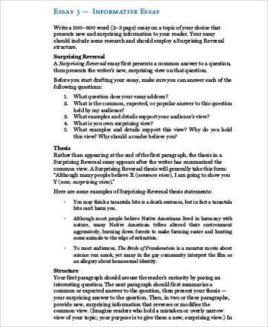 7+ Informative Essay Examples Sample Templates - informative essay