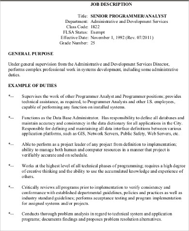 8+ Programmer Analyst Job Description Samples Sample Templates - senior programmer job description