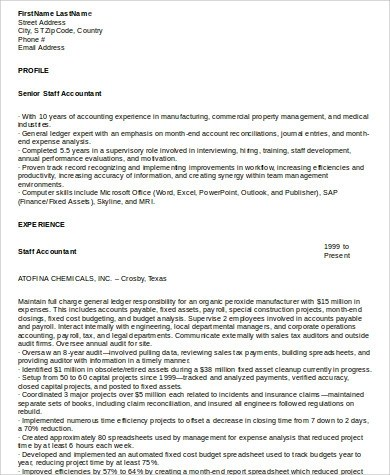 9+ Sample Staff Accountant Resumes Sample Templates - staff accountant resumes