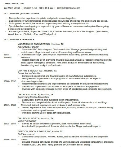9+ Sample Staff Accountant Resumes Sample Templates