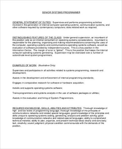 8+ System Programmer Job Description Samples Sample Templates - senior programmer job description