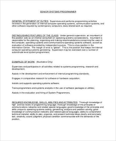 System Programmer Job Description Sample - 8+ Examples in Word, PDF