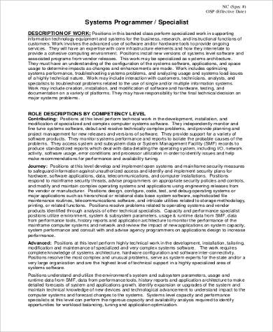 System Specialist Job Description job description avionics - system programmer job description