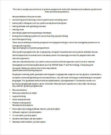 System Programmer Job Description Sample - 8+ Examples in Word, PDF - system programmer job description