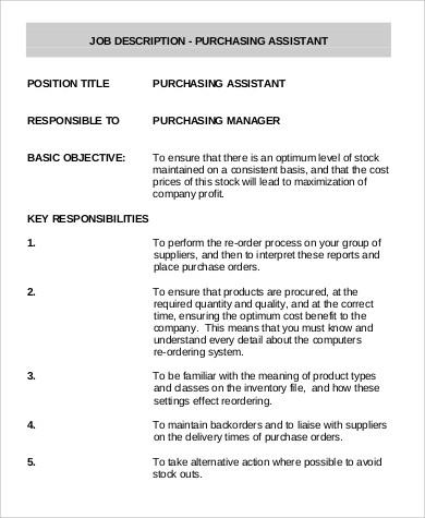 Purchasing Assistant Job Description Sample - 9+ Examples in Word, PDF - purchasing agent job descriptions