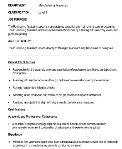 9+ Purchasing Assistant Job Description Samples Sample Templates