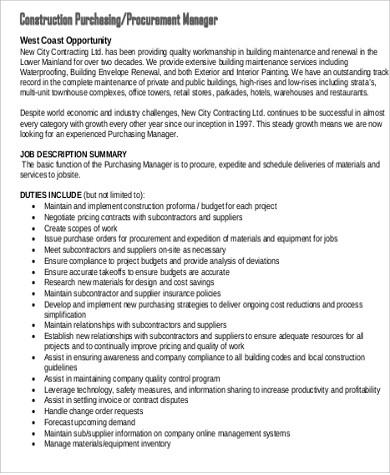 Purchasing Agent Job Description Sample - 7+ Examples in Word, PDF - purchasing agent job descriptions